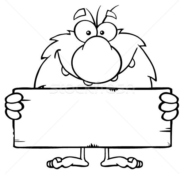 Stock photo: Funny Male Caveman Cartoon Mascot Character Holding A Stone Blank Sign