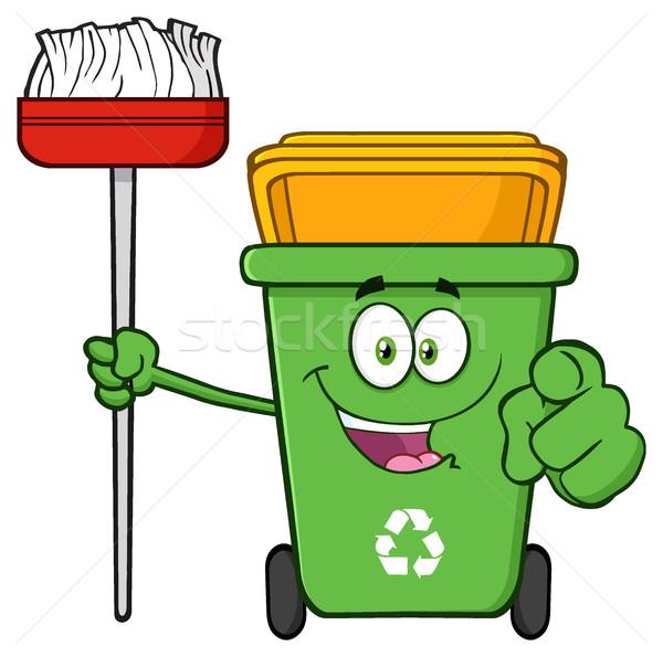Abierto verde reciclar mascota de la historieta carácter Foto stock © hittoon