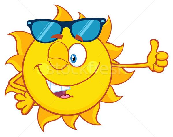 Kacsintás nap rajzfilm kabala karakter napszemüveg remek Stock fotó © hittoon