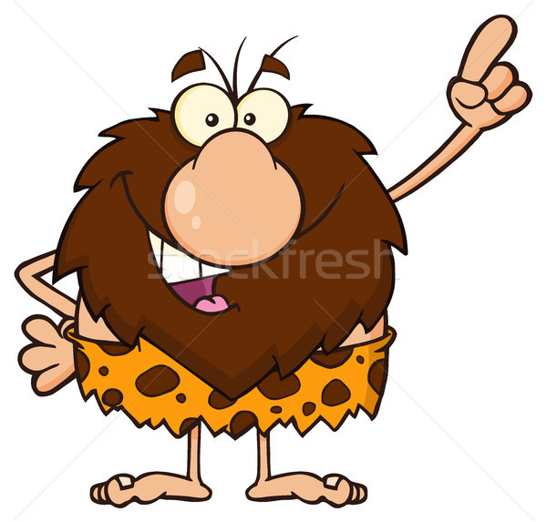 Smiling Male Caveman Cartoon Mascot Character Pointing Stock photo © hittoon