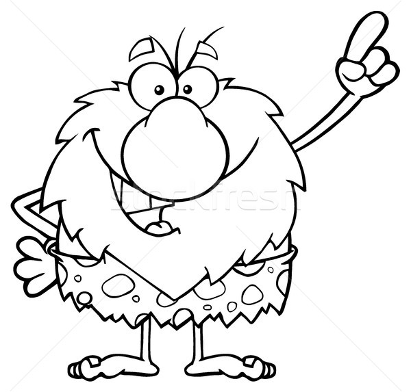 Smiling Male Caveman Cartoon Mascot Character Pointing Stock photo © hittoon