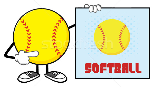 Softball mascotte dessinée personnage pointant signe texte Photo stock © hittoon