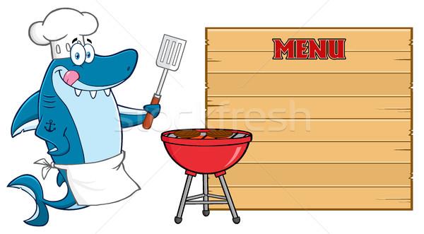 Chef blu squalo mascotte carattere labbra Foto d'archivio © hittoon