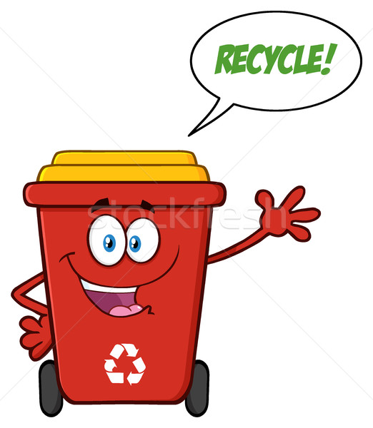 Happy Red Recycle Bin Cartoon Mascot Character Waving For Greeting With Speech Bubble And Text Recyc Stock photo © hittoon