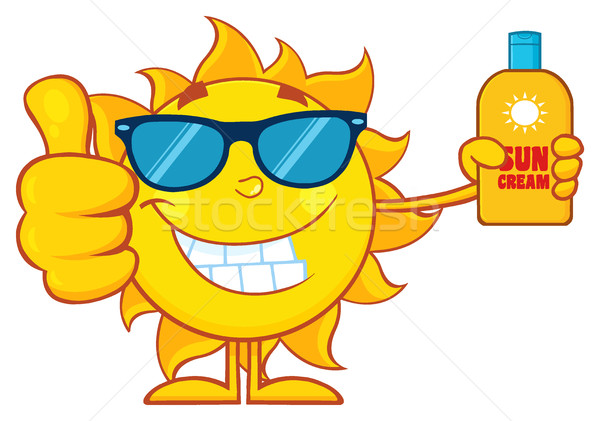 Smiling Summer Sun Cartoon Mascot Character Holding A Bottle Of Sun Block Cream Showing Thumb Up Stock photo © hittoon