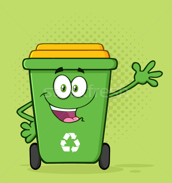 Szczęśliwy zielone recyklingu maskotka cartoon charakter Zdjęcia stock © hittoon