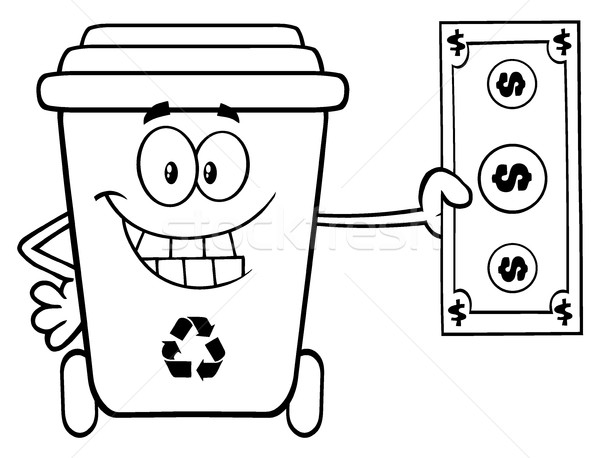 Black And White Smiling Recycle Bin Cartoon Mascot Character Holding A Dollar Bill Stock photo © hittoon