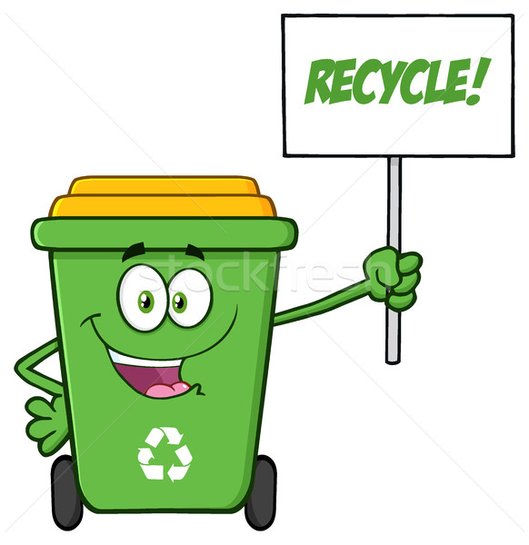 Happy Green Recycle Bin Cartoon Mascot Character Holding Up A Recycle Sign Stock photo © hittoon