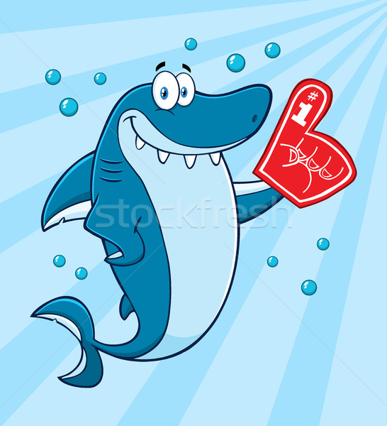 Sorridente azul tubarão mascote Foto stock © hittoon