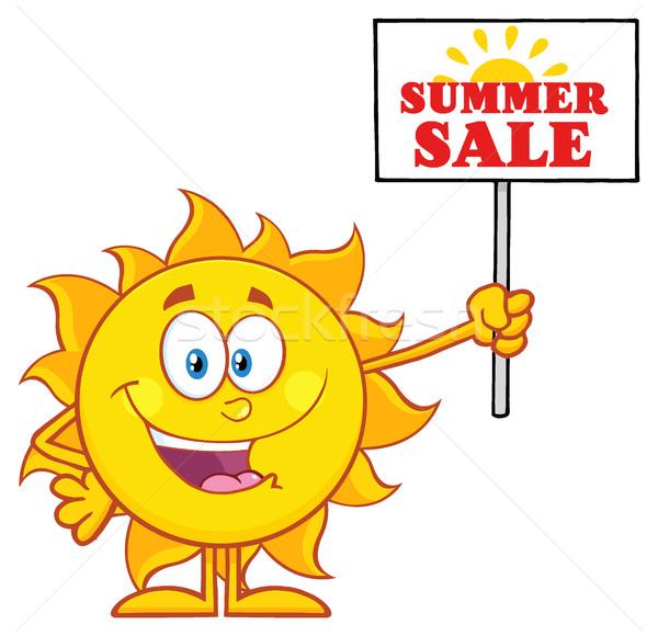 Yaz güneş karikatür maskot karakter imzalamak Stok fotoğraf © hittoon