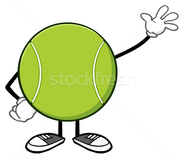Tennis Ball Faceless Cartoon Mascot Character Waving Stock photo © hittoon