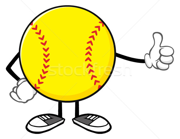 Softball Faceless Cartoon Mascot Character Giving A Thumb Up Stock photo © hittoon