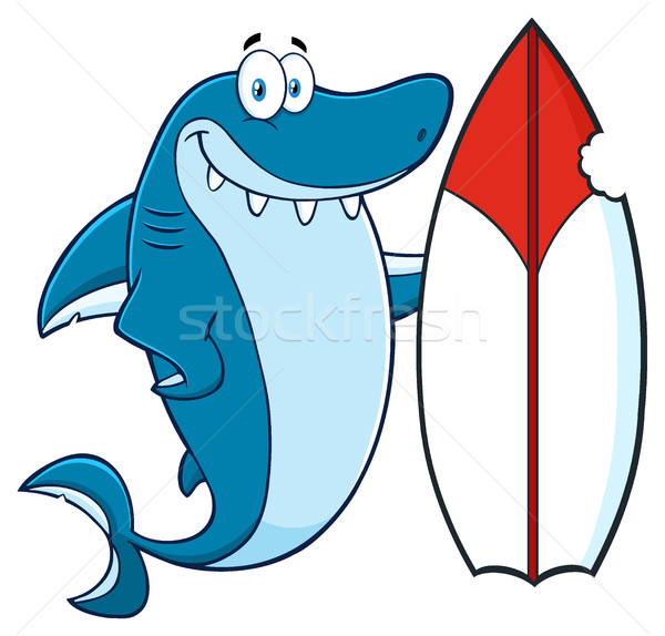 Glimlachend Blauw haai cartoon mascotte karakter surfboard Stockfoto © hittoon