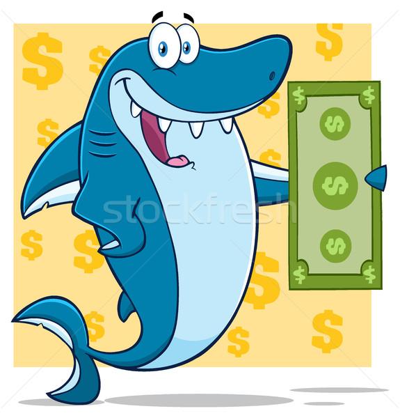 Mutlu mavi köpekbalığı karikatür maskot karakter Stok fotoğraf © hittoon