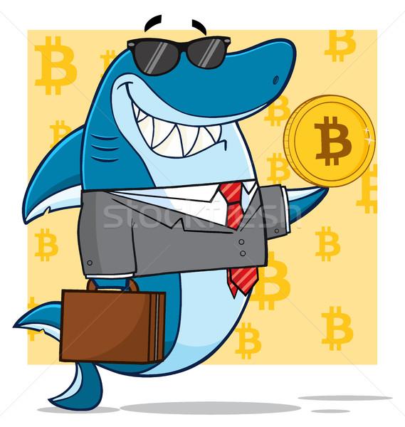 Foto stock: Sorridente · negócio · tubarão · mascote · terno