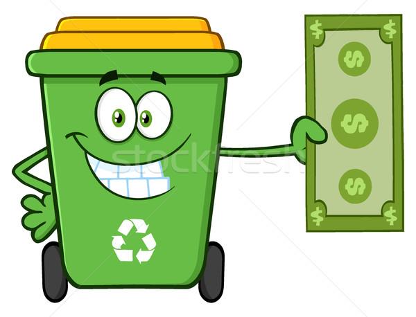 笑みを浮かべて 緑 リサイクル 漫画のマスコット 文字 ストックフォト © hittoon