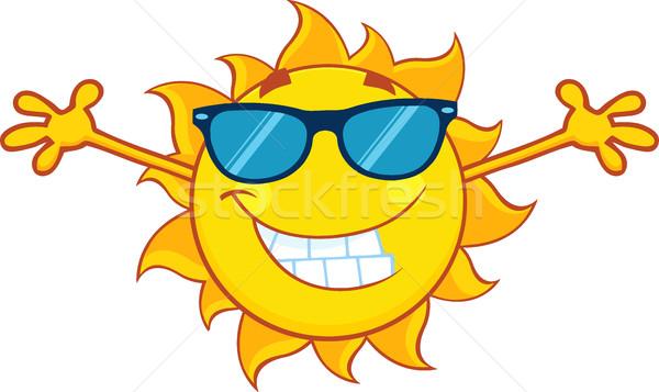Mosolyog nyár nap rajzfilm kabala karakter napszemüveg Stock fotó © hittoon