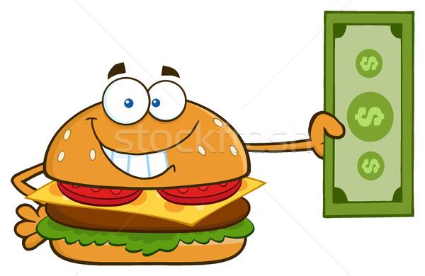 Сток-фото: улыбаясь · Burger · мультфильм · талисман · характер · доллара