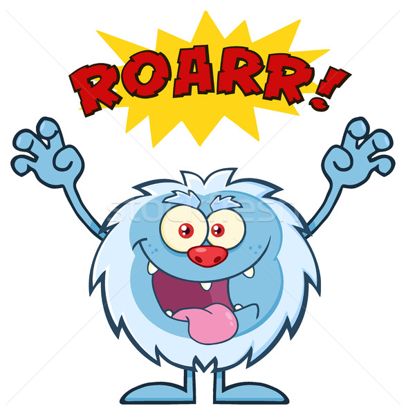 Scary Yeti Cartoon Mascot Character With Angry Roar Sound Effect Text Stock photo © hittoon