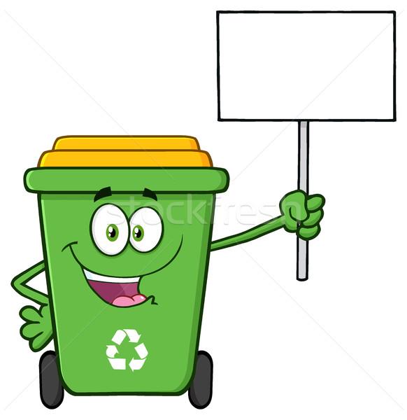Feliz verde reciclar mascote Foto stock © hittoon