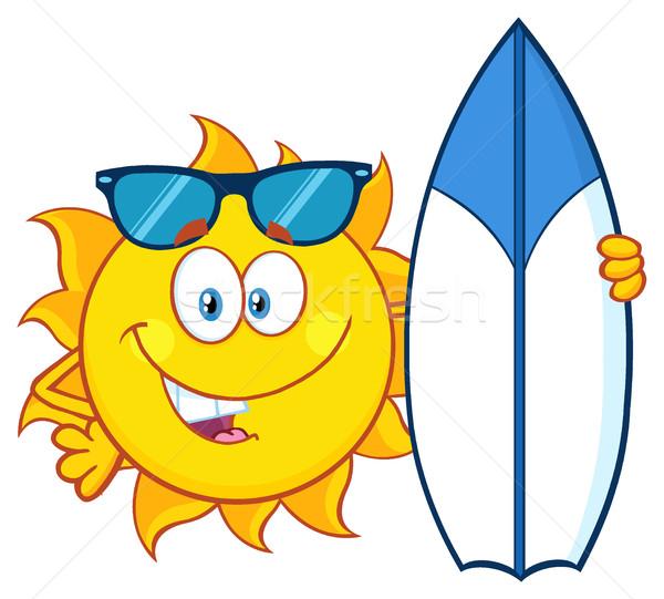 Felice sole mascotte carattere occhiali da sole Foto d'archivio © hittoon