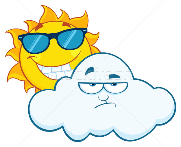 Smiling Summer Sun With Sunglasses And Grumpy Cloud Cartoon Characters Stock photo © hittoon