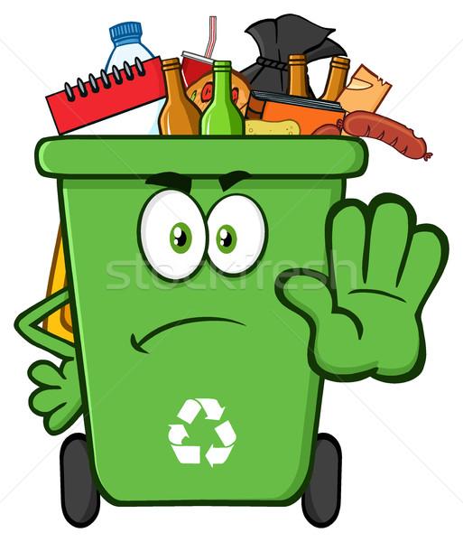 ストックフォト: 怒っ · 緑 · リサイクル · 漫画のマスコット · 文字