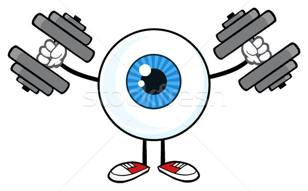 Blue Eyeball Guy Cartoon Mascot Character Working Out With Dumbbells Stock photo © hittoon