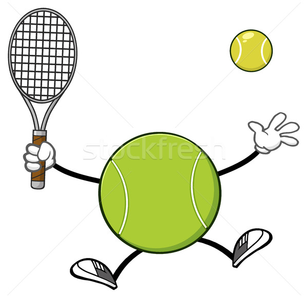 Tennisbal speler cartoon mascotte karakter racket Stockfoto © hittoon