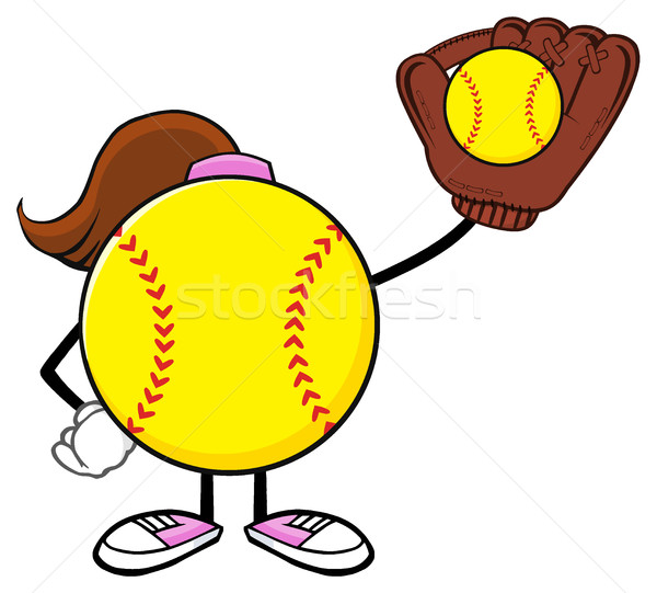 Softball fille bat gant Photo stock © hittoon