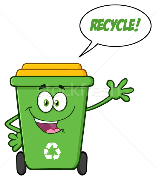 Happy Green Recycle Bin Cartoon Mascot Character Waving For Greeting With Speech Bubble And Text Rec Stock photo © hittoon