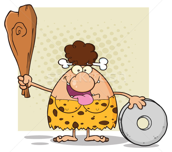 Happy Brunette Cave Woman Cartoon Mascot Character Holding A Club And Showing Wheel Stock photo © hittoon