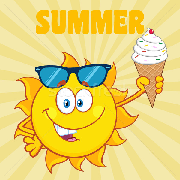 Cute Sun Cartoon Mascot Character With Sunglasses Holding A Ice Cream Stock photo © hittoon