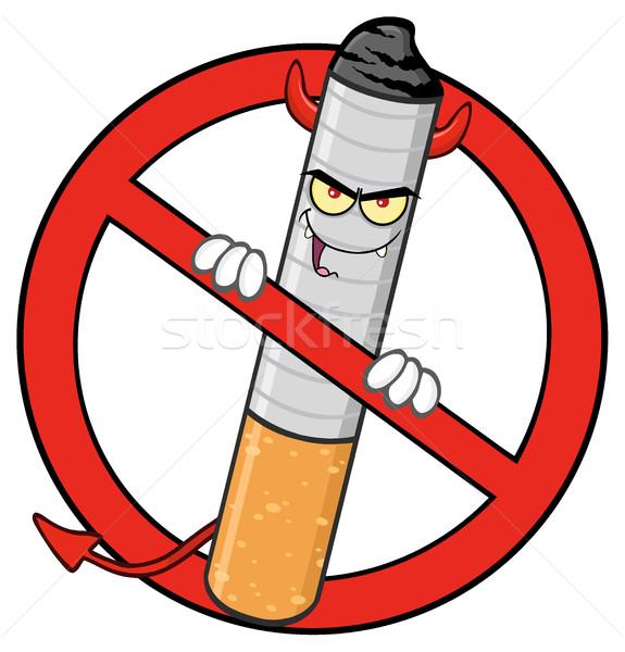 ördög cigaretta rajzfilm kabala karakter piros tilos Stock fotó © hittoon