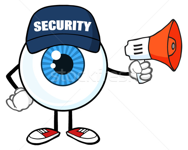 Blue Eyeball Cartoon Mascot Character Security Guard Using A Megaphone Stock photo © hittoon