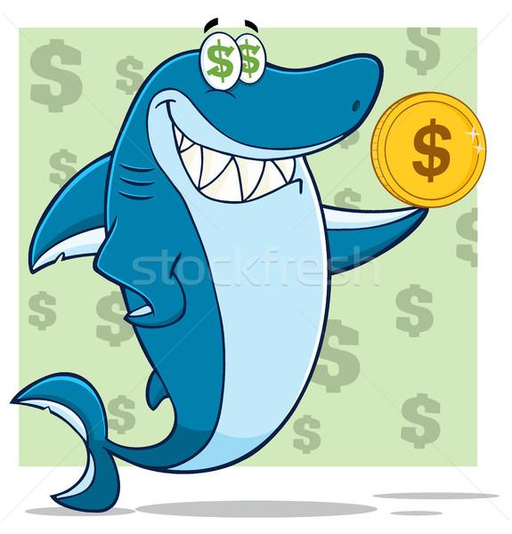 Stok fotoğraf: Açgözlü · mavi · köpekbalığı · karikatür · maskot · karakter