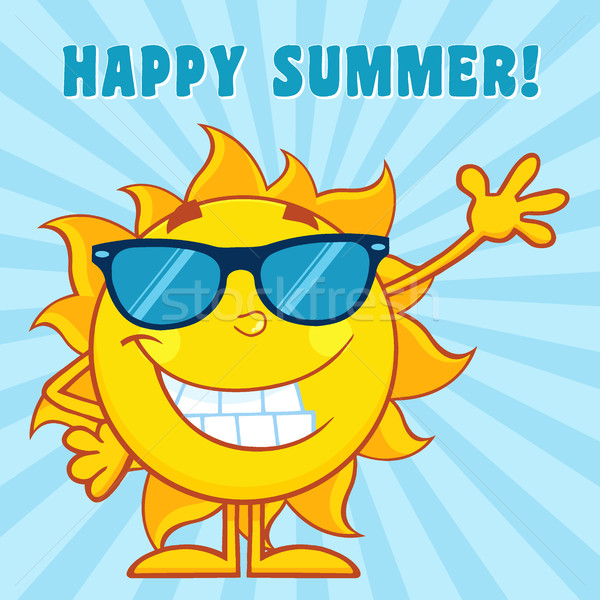 Smiling Sun Cartoon Mascot Character With Sunglasses Waving For Greeting With Text Happy Summer Stock photo © hittoon