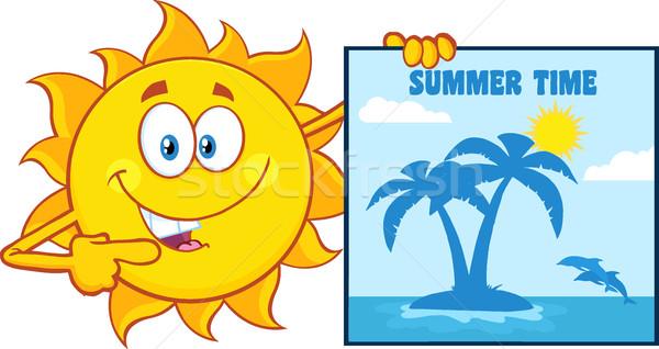 Praten zon cartoon mascotte karakter wijzend poster Stockfoto © hittoon