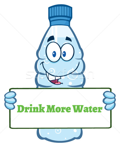 Cartoon Illustation Of A Water Plastic Bottle Cartoon Mascot Character Holding A Sign With Text Drin Stock photo © hittoon