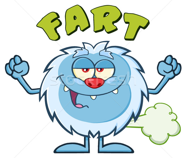 Smiling Little Yeti Cartoon Mascot Character Farting Stock photo © hittoon