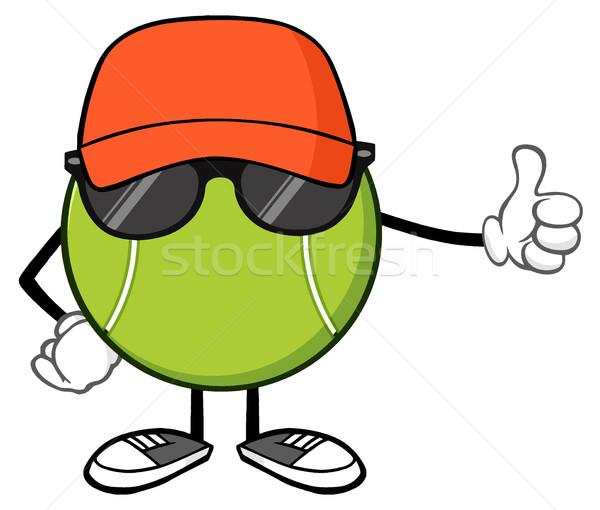 Teniszlabda rajzfilm kabala karakter kalap napszemüveg hüvelykujj Stock fotó © hittoon