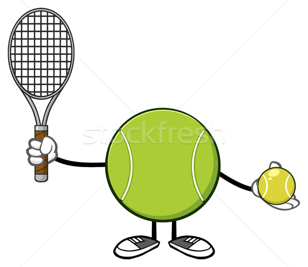 Tennis Ball Faceless Player Cartoon Mascot Character Holding A Tennis Ball And Racket Stock photo © hittoon