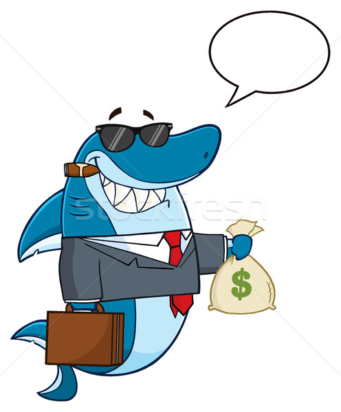 Business Shark Cartoon Mascot Character In Suit, Carrying A Briefcase And Holding A Money Bag Stock photo © hittoon