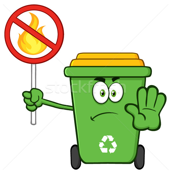 Angry Green Recycle Bin Cartoon Mascot Character Gesturing Stop And Holding A Fire Restricted Sign Stock photo © hittoon