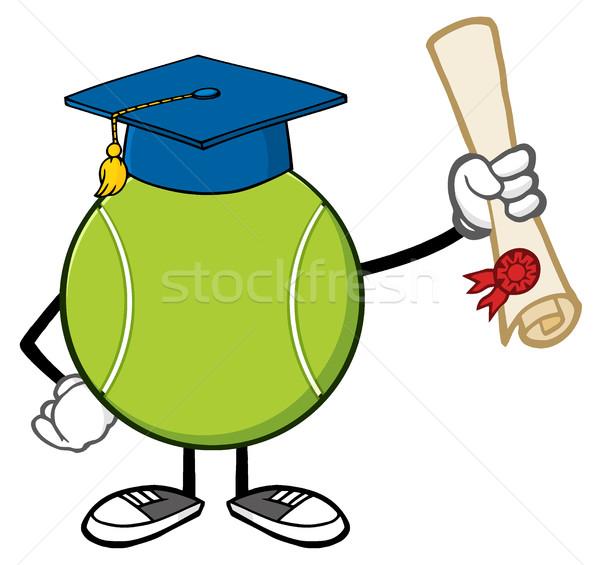 Tennis Ball Faceless Cartoon Mascot Character With Graduate Cap Holding A Diploma Stock photo © hittoon