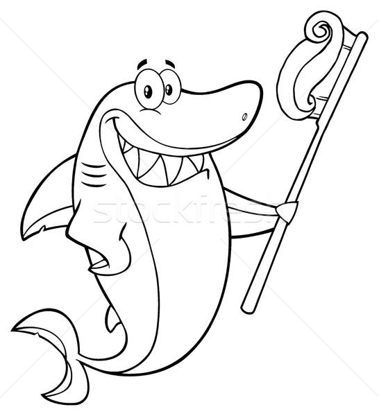 Zwart wit glimlachend haai cartoon mascotte karakter Stockfoto © hittoon