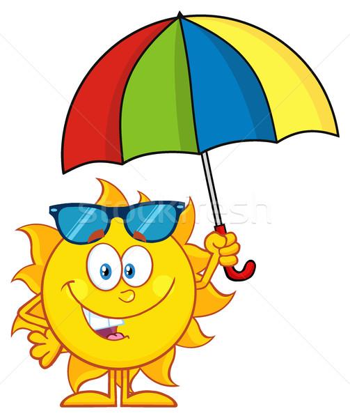 Cute Sun Cartoon Mascot Character Holding A Umbrella Stock photo © hittoon