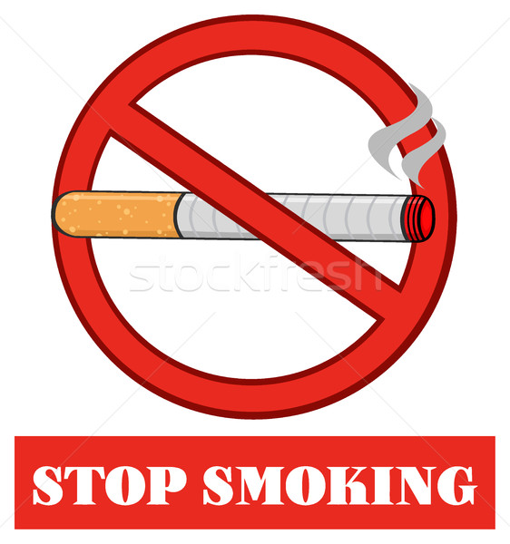 No Smoking Red Sign With Cigarette With Text Stop Smoking Stock photo © hittoon