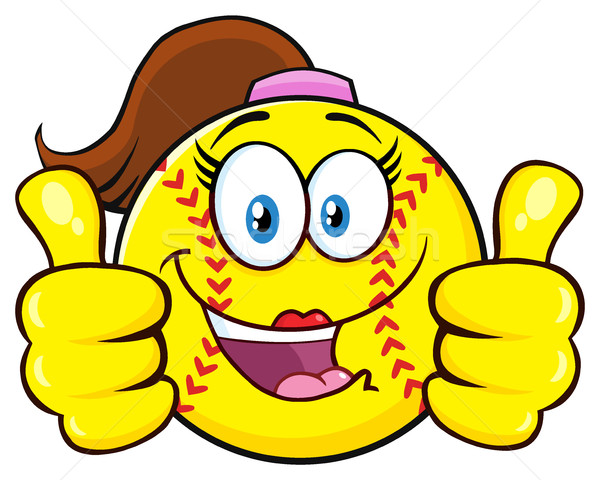 Cute Softball Girl Cartoon Character Giving A Double Thumbs Up Stock photo © hittoon