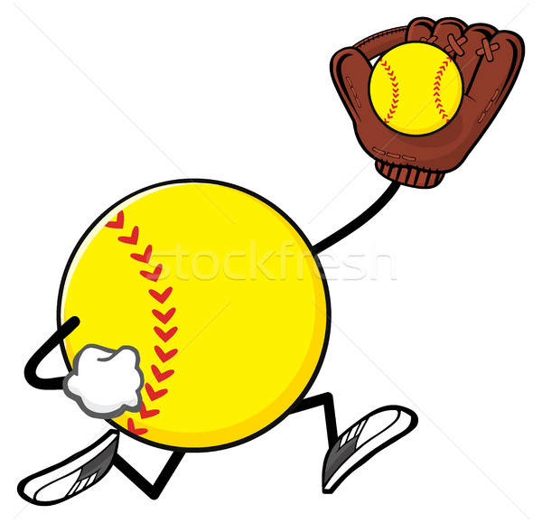 Softball Faceless Player Cartoon Mascot Character Running With Glove And Ball Stock photo © hittoon